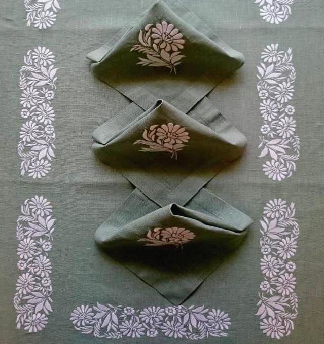 скатерть льняная вышивка